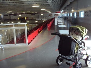 Hilary strolling at the indoor walking track