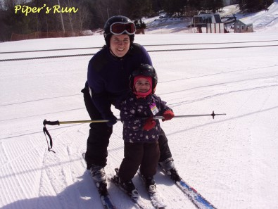 Mommy and Lilly skiing on the Bunny Hill at Ski Martock.