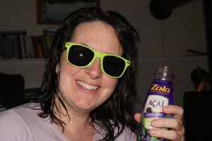 Chillin' after my workout drinking Zola Acai Juice - I know...you're all jealous!