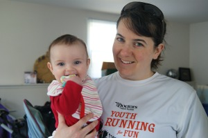 Happy Hilary and tired Mommy before running