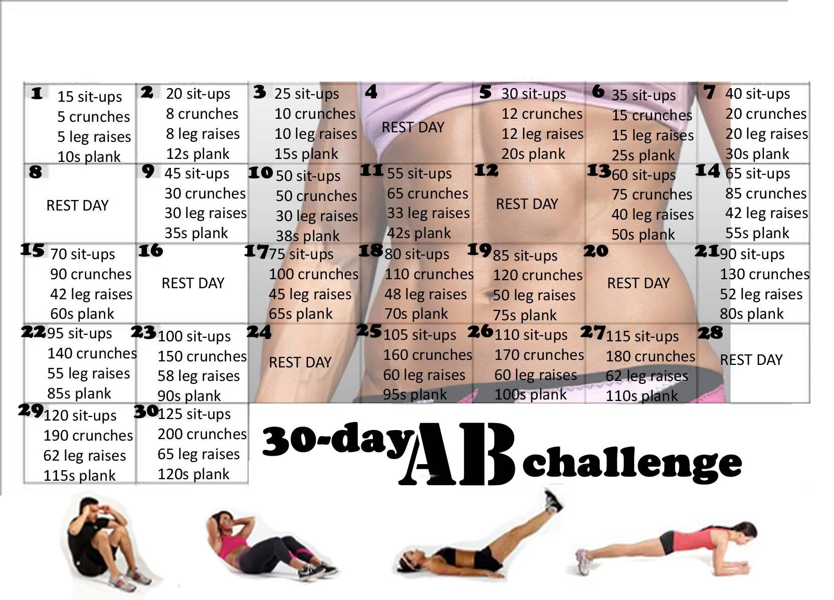 This is a photo of Refreshing Printable 30 Day Ab Challenge