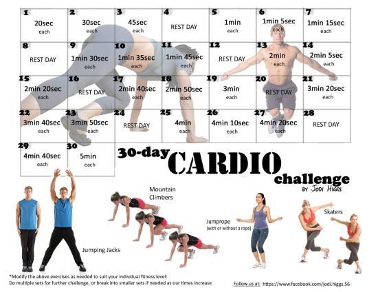 Jodi Higgs 30 Day Cardio Challenge