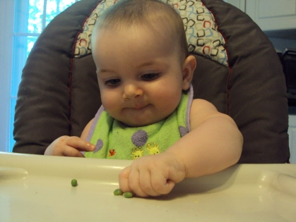 So focused on her peas.