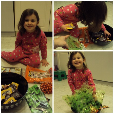 Halloween making treat bags