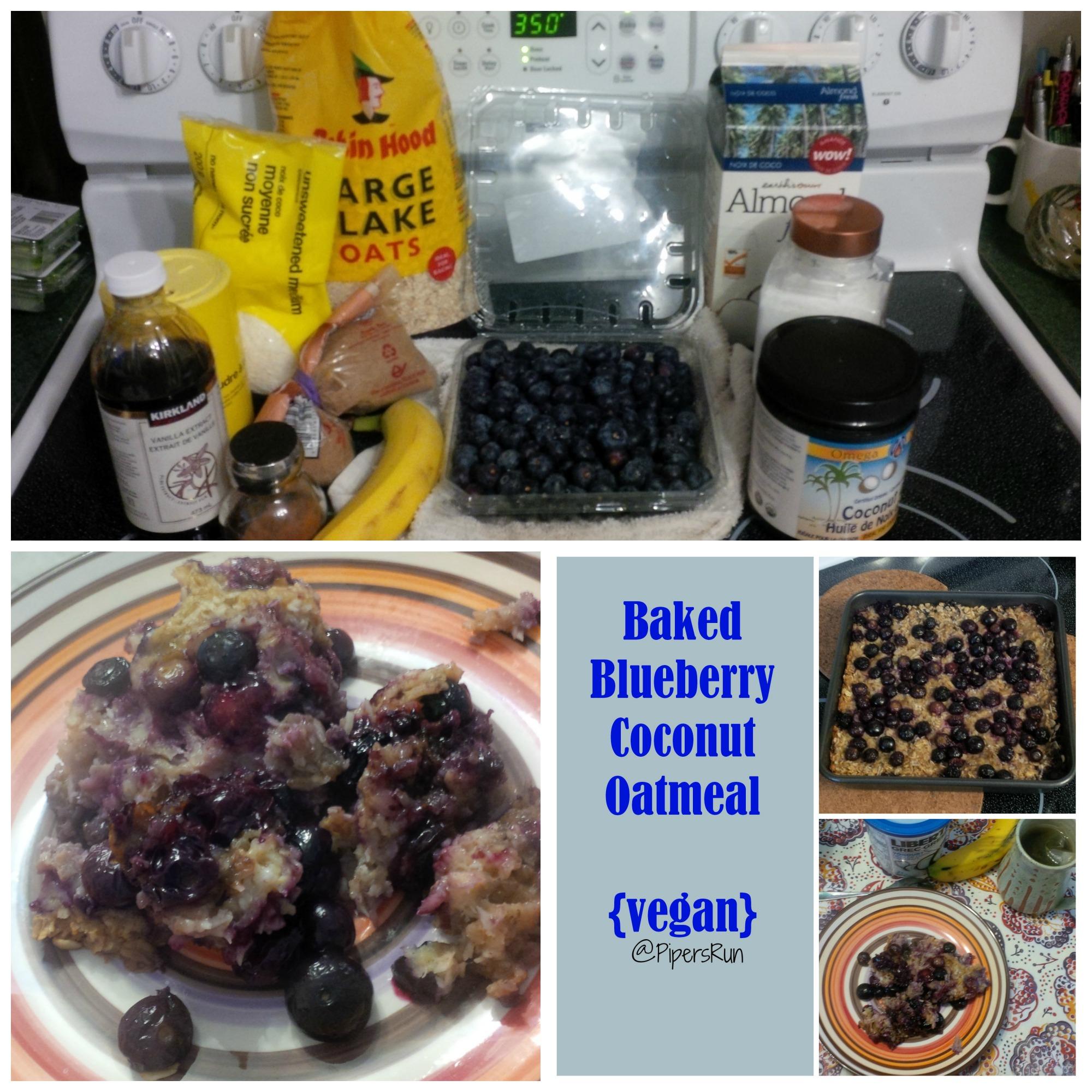 Baked Blueberry Coconut Oatmeal {vegan}