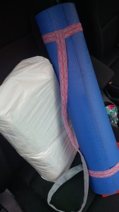 A bag of diapers and my Yoga mat...that's how I roll!