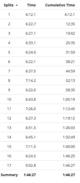 Splits July 24th running