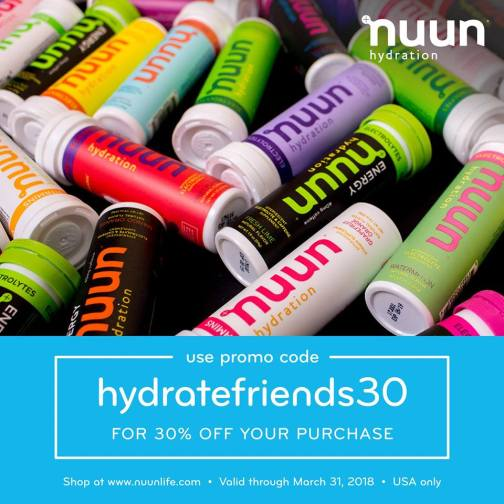 Nuun USA Code March 31st